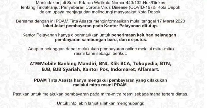 Pelayanan Loket Pembayaran PDAM Tirta Asasta Tutup Sementara Terkait Surat Edaran Walikota Depok