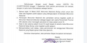 FOTO : isi surat UPT Monas untuk alumni PA 212/ppid.jakarta.go.id