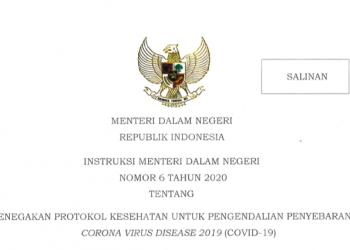 FOTO: Instruksi Mendagri (Inmendagri) Nomor 6 Tahun 2020 tentang Penegakan Protokol Kesehatan untuk Pengendalian COVID-19/setkab.go.id